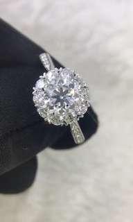 18K白金鑽石戒指 1卡