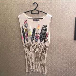 style fringe top clothes in off white