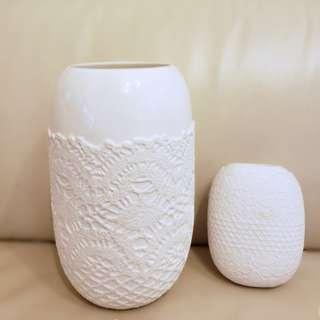 50% Off Franc Franc White Porcelain Lace Vases 白色陶瓷花瓶
