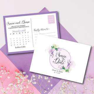 Lavender Floral Theme Save the Date Postcard Printable Template