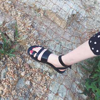 2018夏新款 韓國chic超好看百搭休閒羅馬橫帶組合套趾平底涼鞋女