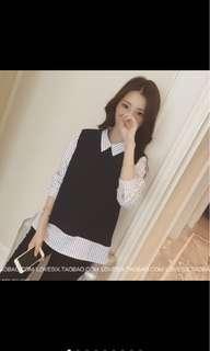 Fake 2 piece grid blouse