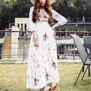 Floral Maxi Dress boho bohemian beach summer white dress