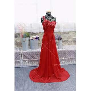 N170 紅色敬酒晚裝 晚宴 促銷 RED BRIDAL dress WEDDING SAMPLE SALES ANNUL DINNER