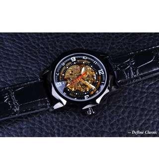WINNER jam tangan Pria Skeleton Automatic Mechanical Watch Gold Skeleton Vintage Watchskeleton Man