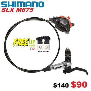 Shimano Slx M675 Hydraulic Disc Brake With Cooling Fins Brakr Pads One Side Only-------- (XTR M9020 XT M8020 M8000 M785 SLX M7000 M675 M315 MT2 MT4 MT5 MT5E MT6 MT7 MT8 Trail) Dyu