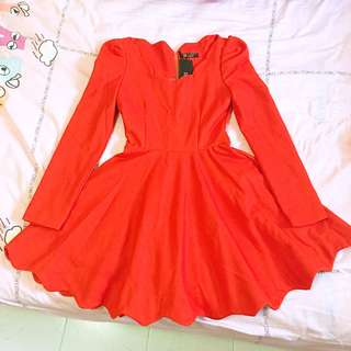 Luxury Premium Orangey Red Dress - thick premium material - European high class royalty style