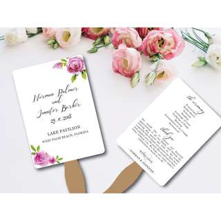 Blossom Flowers Wedding Programme Fan Printable Template