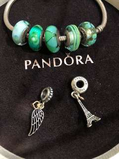 Pandora sterling silver with gold charms