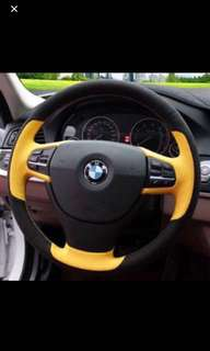 Custom Genuie Leather Steering Wheel Wrap -DIY