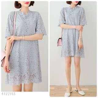 Lace Dress[可選size](2色: Black/Sky-Blue)