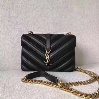 YSL Suede Leather Mixed Chain BAG Black
