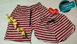 Stripes maroon couple shorts