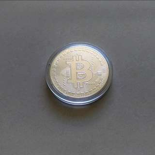 Bitcoin Cryptocurrency Collectable Silver Plated Coin BTC 1 piece