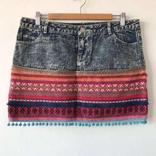 Denim Skirt with Tribal Detailing