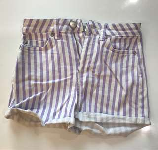 Topshop denim shorts with white and purple stripes size 6/8