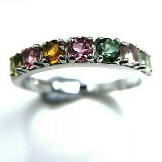 Rainbow Tourmaline 925 Sterling Silver Ring For Women