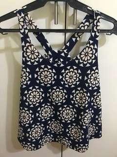 Navy blue boho pattern top