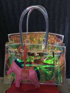 Holographic PVC Clear top handle bag