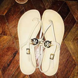 Repriced! Authentic Tory Burch Sandals Off White leather
