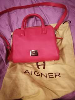 Aigner pink leather short handle sling bag