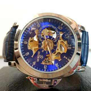 全自動機械銀鋼陀飛輪真皮手錶 Automatic Mechanical Silver Steel Tourbillon Genuine Leather Watch