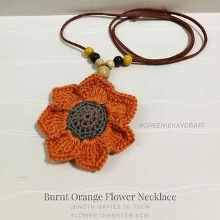 Burned Orange Flower Necklace