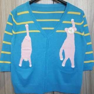 電繡手作小猴 開門襟7分袖針織薄外套~全新商品