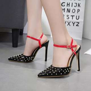 KOrean metal glossy sexy close sandal stiletto