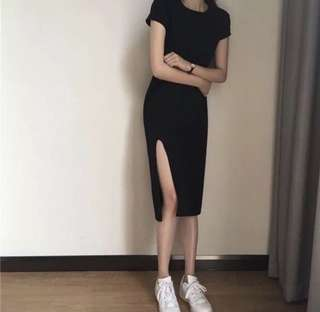 BN Black Slit Dress