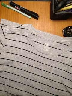 t-shirt h&m basic stripes grey