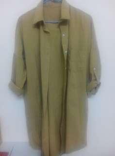 🚚 芥茉綠長版襯衫繭型長版襯衫