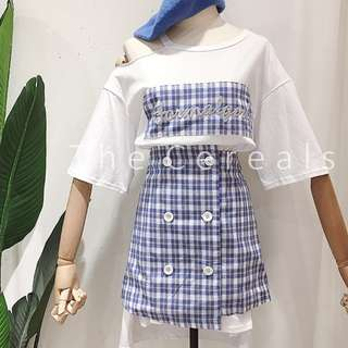TC2323 Korea 2 Pieces Long Shirt Dress + Buttons Checker Skirt (White,Blue)