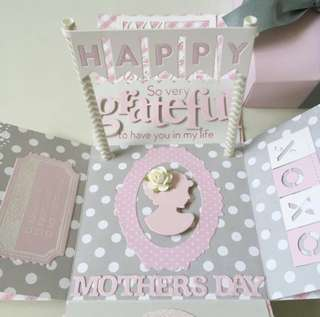Happy Mother's day Explosion Box Card in light Pink