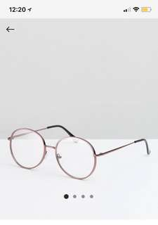 Pink Metal Round Clear Glasses