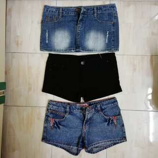 Denim shorts and skirts - bundle deal - 2 for rm10 #POST1111