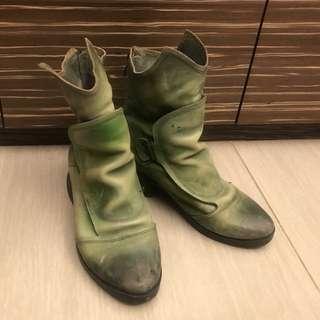 🚚 「精靈 真皮短靴 」 手工 刷舊擦色 復古皮面 奇異鞋跟  超可愛