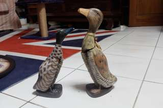 Vintage Wooden Duck with Brush (set of 2)