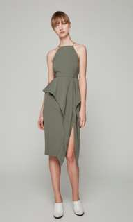 Collate the Label Front Slit Peplum Drss