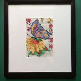 Butterfly cross stitch with frame