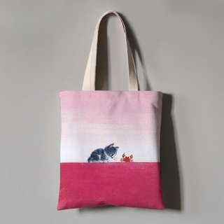 Instock Cat in Love With Crab Print Pink Horizon Sky Canvas Tote Bag