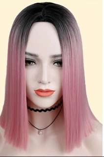 Best of cotton candy pink Centre parting full wig