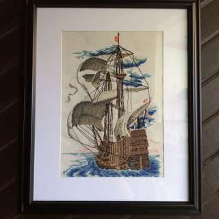 Sailboat cross stitch with frame