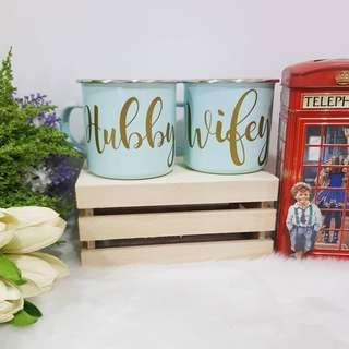 [In-Stock] Couple Enamel Mug/ Personalized Bridesmaid Gifts / Customized Couple Mug / Bridesmaid Gifts / Customize Mug / Wedding Gifts / Bride / Bridesmaid