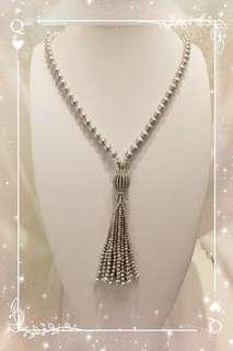 Silver 925 鑲嵌 穌聯水晶復古配件 /  另加一個銀水晶開關扣掣 配 9-9.5mm 天然銀灰色淡水珍珠頸鍊 一條 K-5