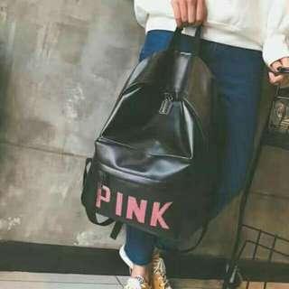 VS Pink leather bagpack