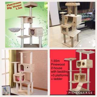 (NEW!) Pinewood cat condo scratch tree pole bed house
