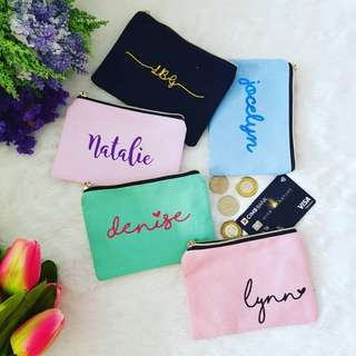 [In-Stock] Personalized Bridesmaid Coin Pouch / Customized Cosmetic Bag / Bridesmaid Gifts / Cosmetic Bag / Wedding Gifts / Bride / Bridesmaid Pouch