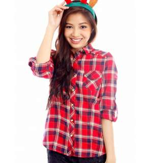 Red Checkered Studded Flannel