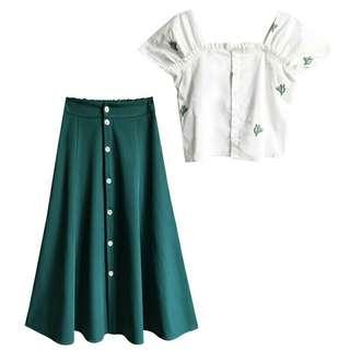 Cactus Top + Green Dress Set
